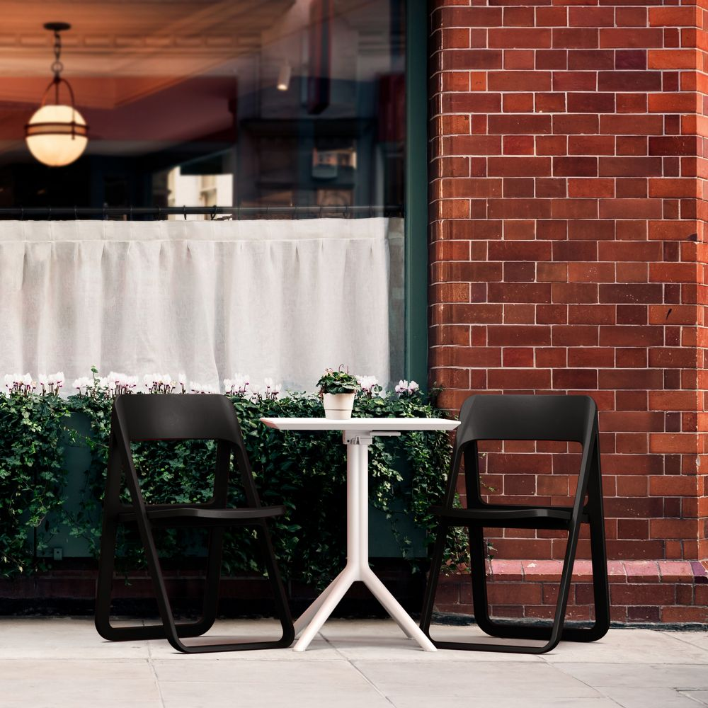 Dream Folding Outdoor Bistro Set with White Table and 2 Black Chairs ISP0791S-BLA-WHI