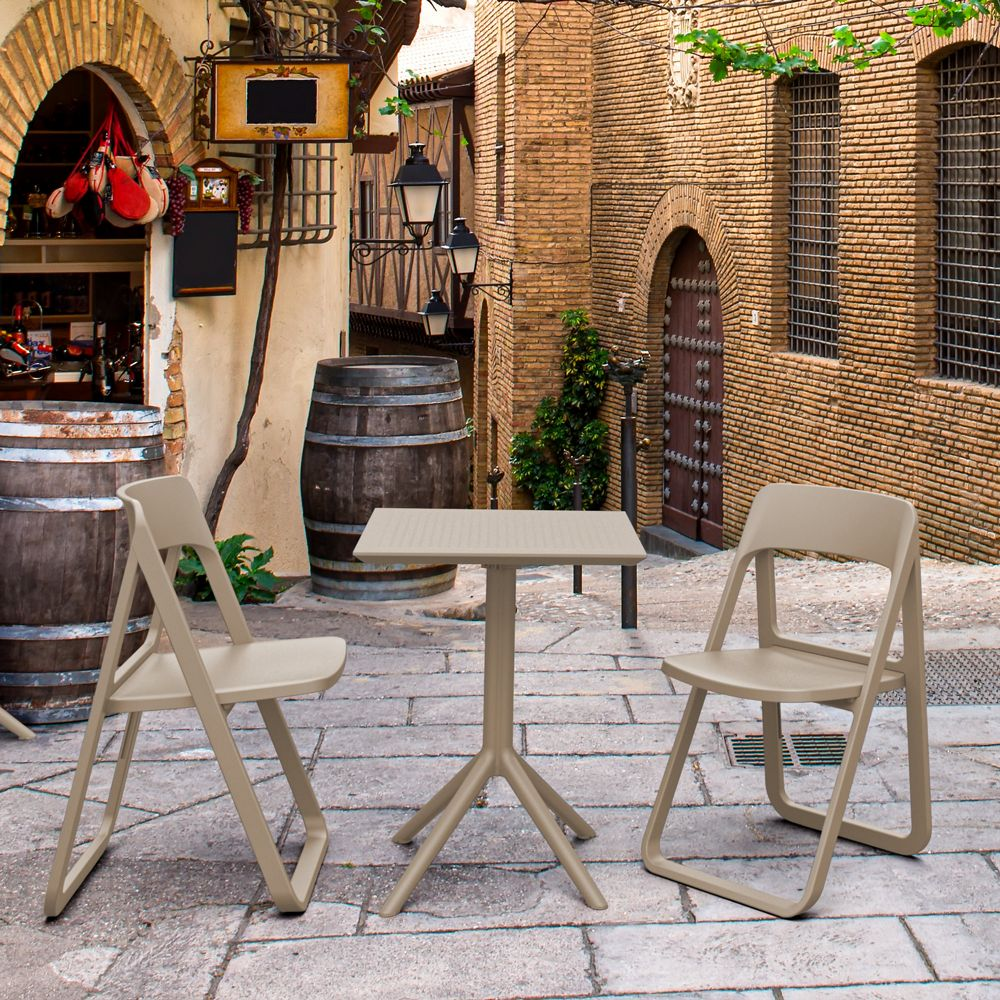 Dream Folding Outdoor Bistro Set with 2 Chairs Taupe ISP0791S-DVR-DVR
