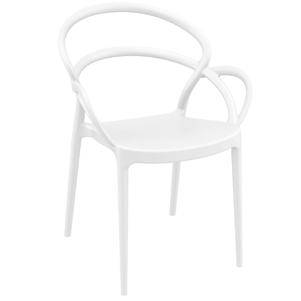 Mila Dining Arm Chair White ISP085-WHI