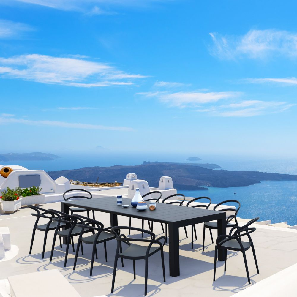 Mila Extendable Outdoor Dining Set 11 piece Black ISP0851S-BLA