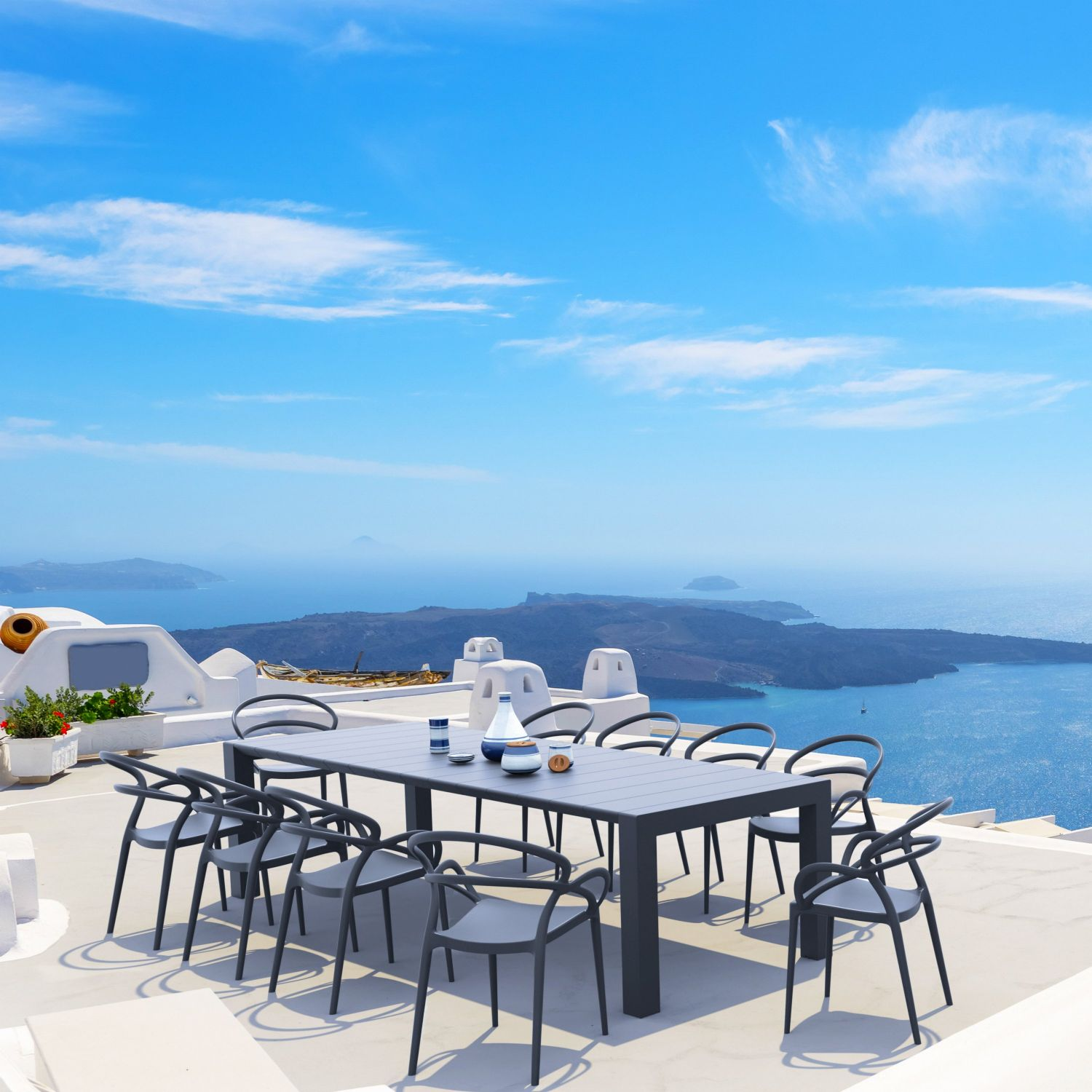 Mila Extendable Outdoor Dining Set 11 piece White ISP0851S-WHI - 2