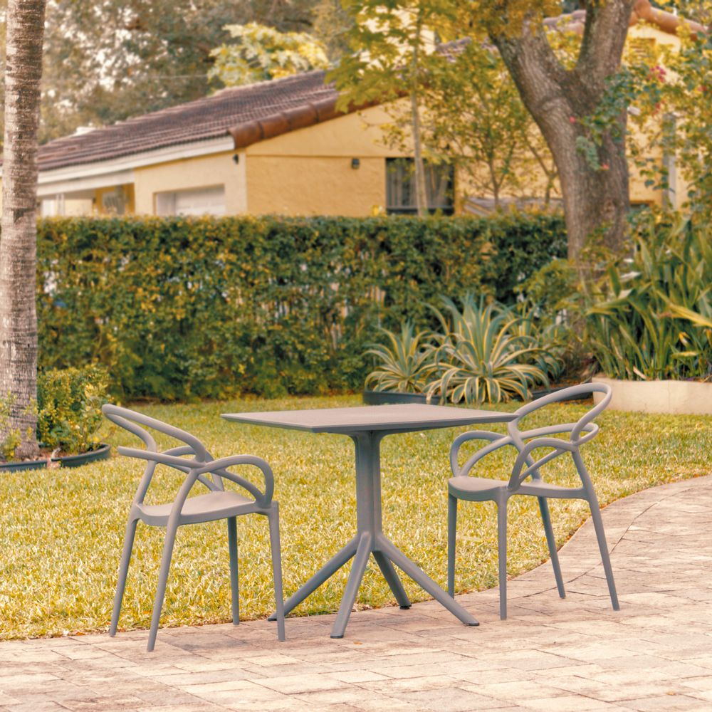 Mila Patio Dining Set with 2 Arm Chairs Dark Gray ISP0853S-DGR