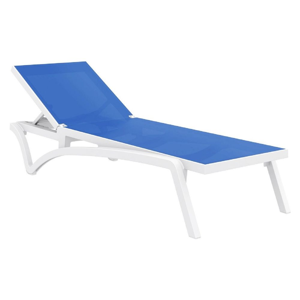 Pacific Sling Chaise Lounge White - Blue ISP089-WHI-BLU