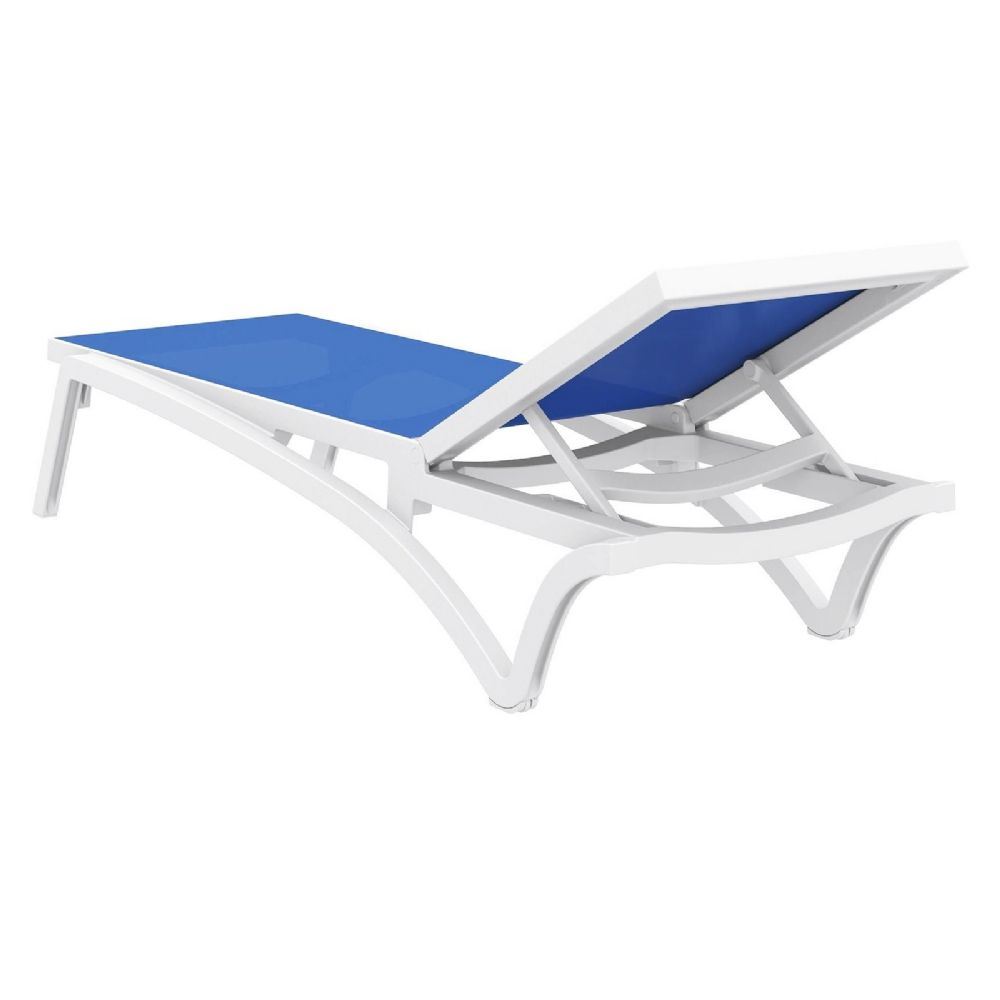 Compamia pacific sling chaise lounge white blue isp089 for Blue sling chaise lounge