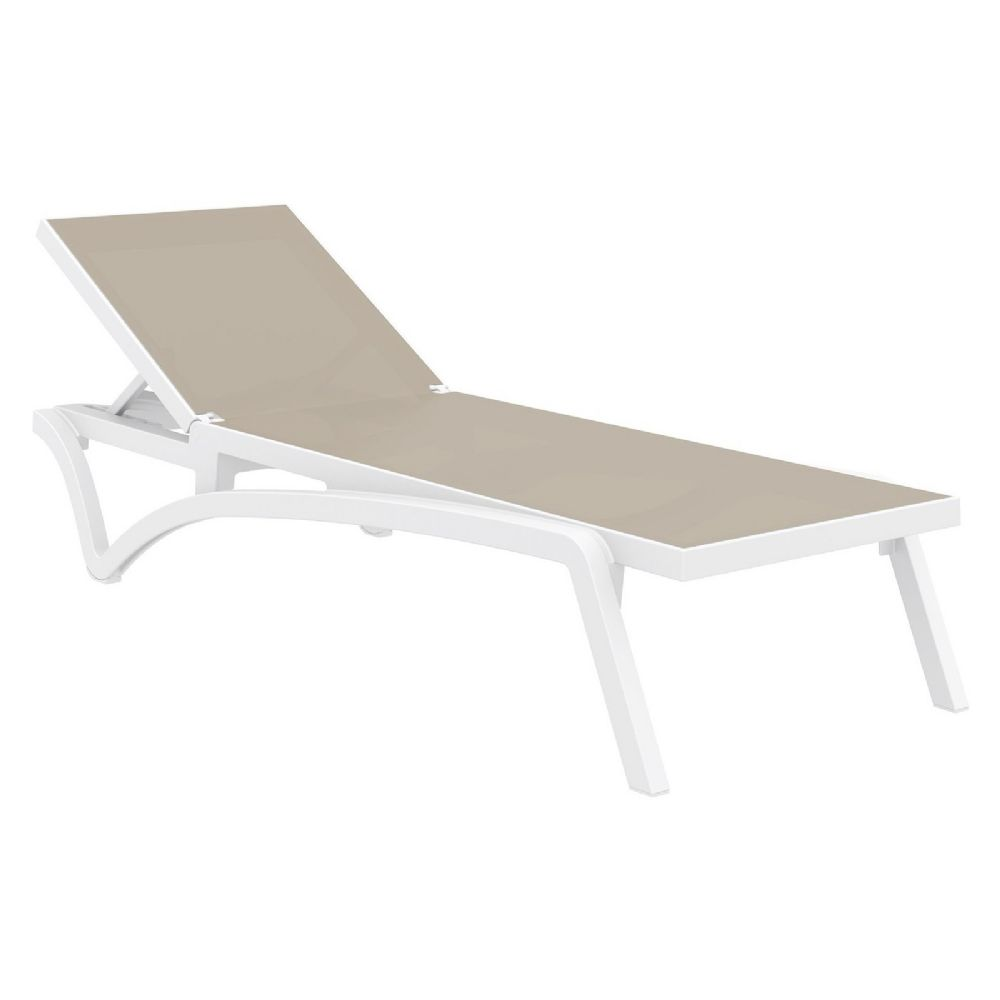 Pacific Sling Chaise Lounge White - Dove Gray ISP089-WHI-DVR