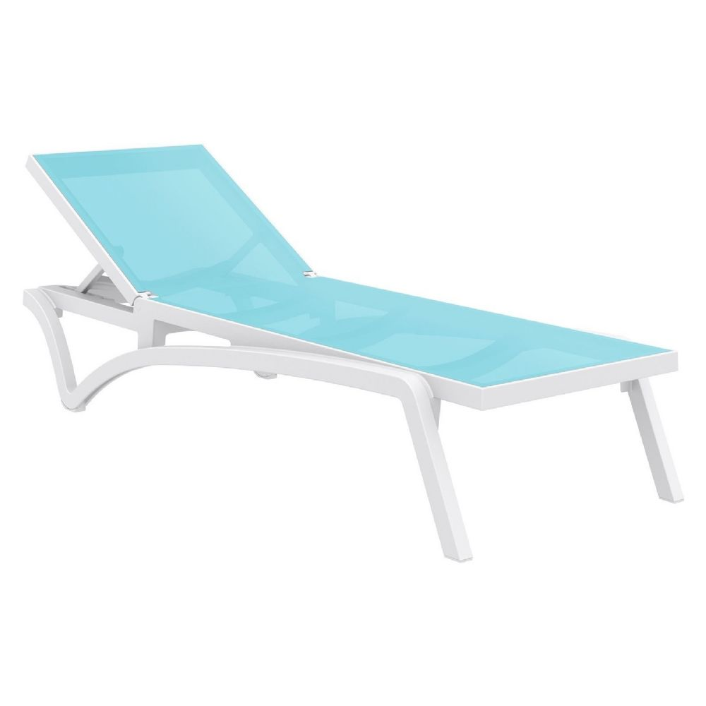 Pacific Sling Chaise Lounge White - Turquiose ISP089-WHI-TRQ