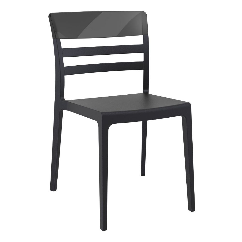 Moon Dining Chair Black with Transparent Black ISP090-BLA-TBLA