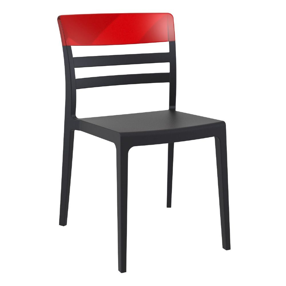 Moon Dining Chair Black with Transparent Red ISP090-BLA-TRED