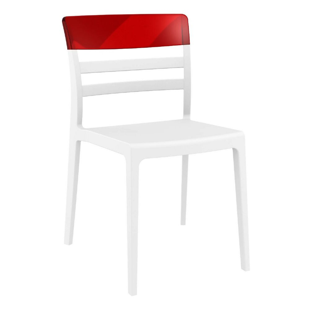 Moon Dining Chair White with Transparent Red ISP090-WHI-TRED