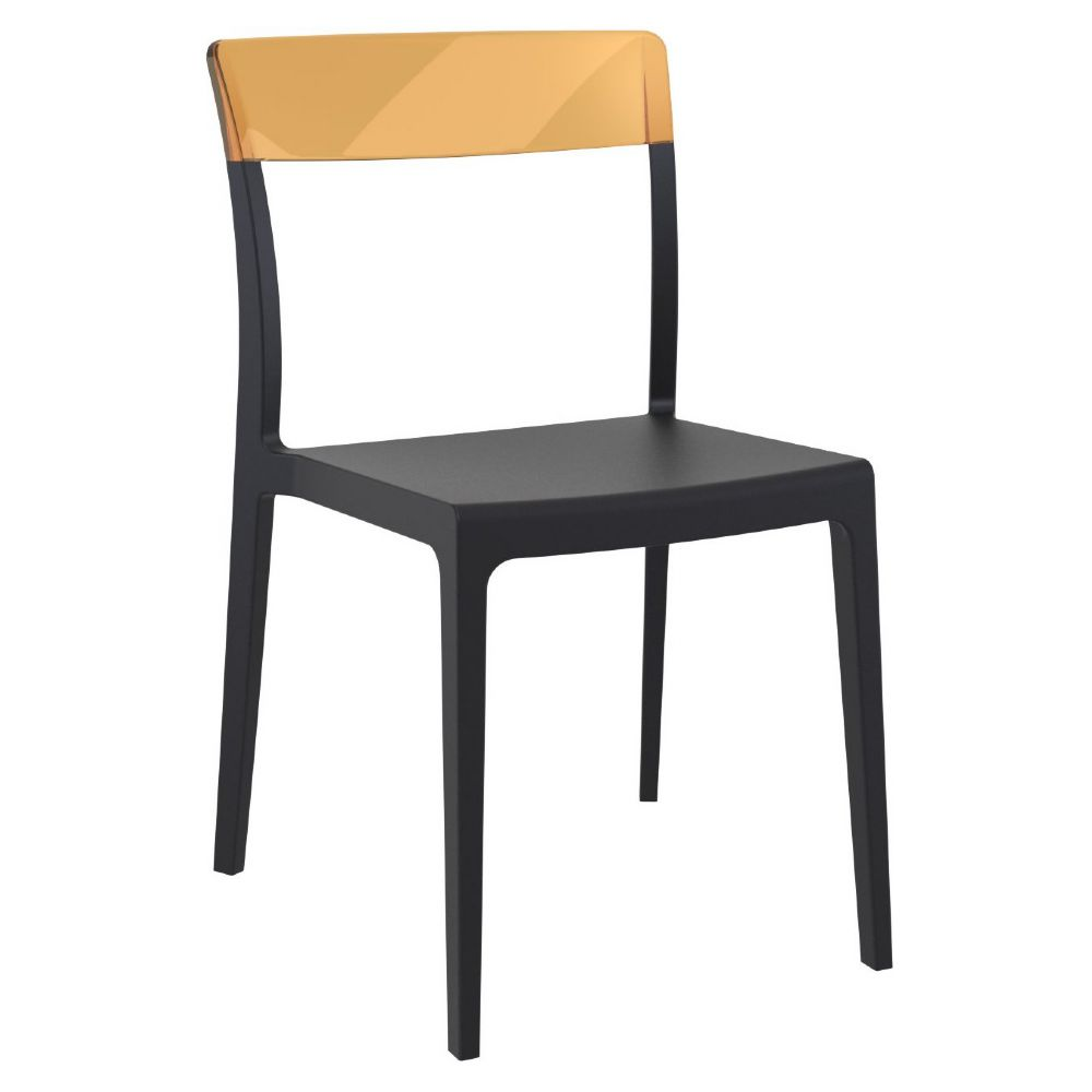 Flash Dining Chair Black with Transparent Amber ISP091-BLA-TAMB