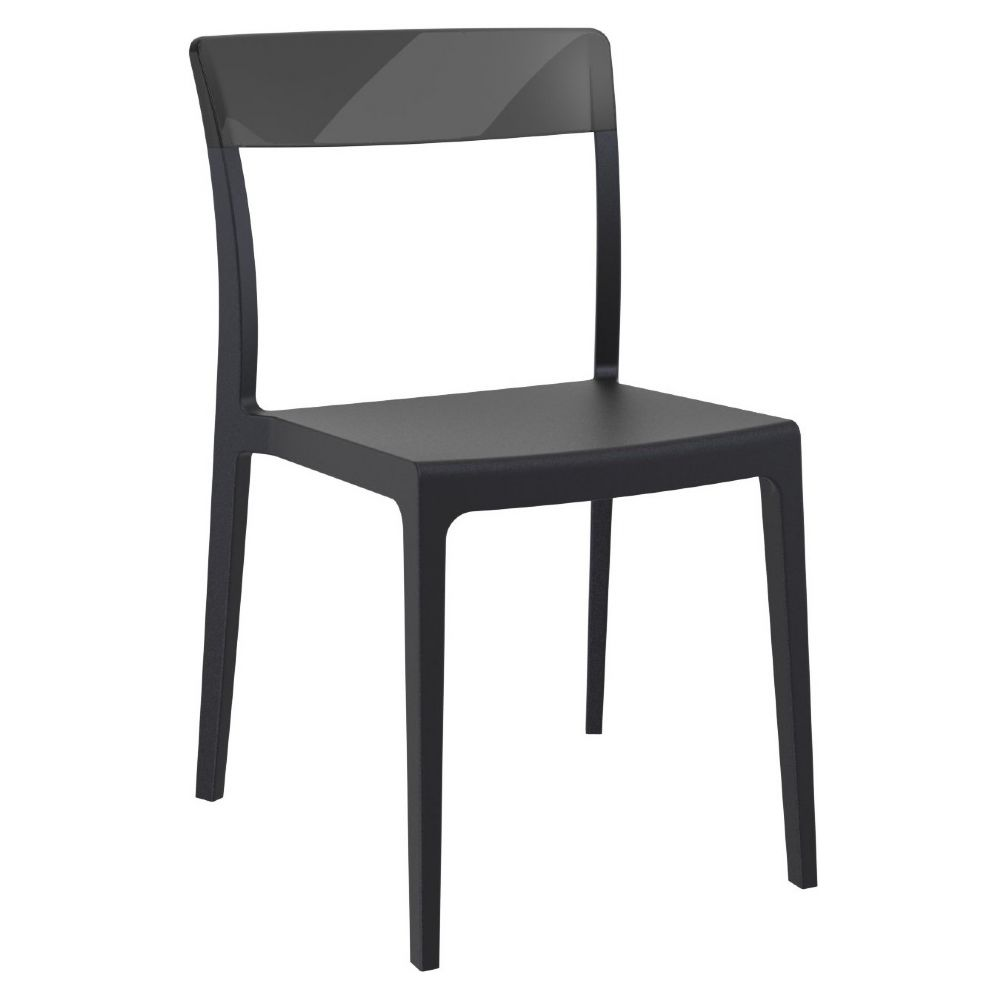 Flash Dining Chair Black with Transparent Black ISP091-BLA-TBLA