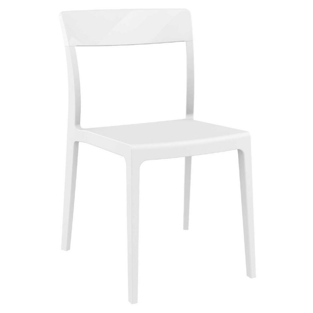 Flash Dining Chair White with Glossy White Back ISP091-WHI-GWHI