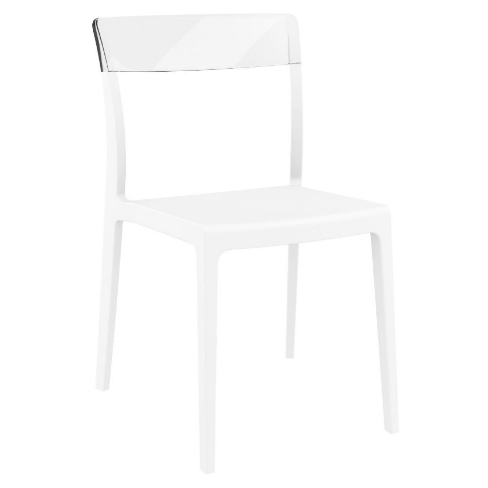 Flash Dining Chair White with Transparent Clear ISP091-WHI-TCL