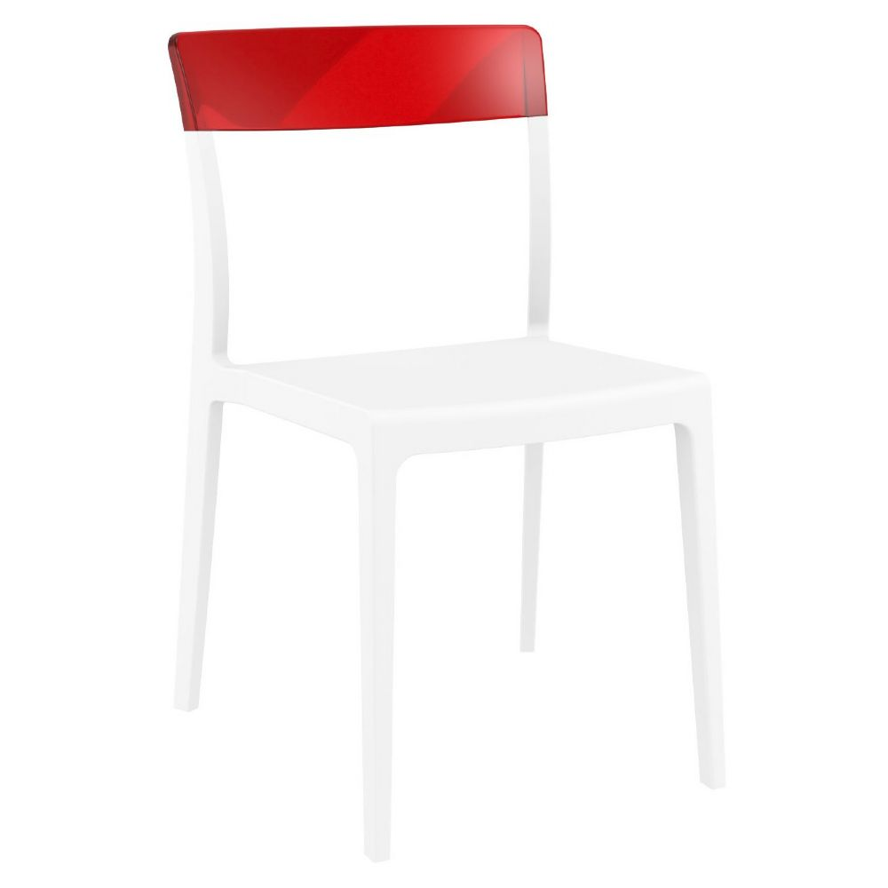 Flash Dining Chair White with Transparent Red ISP091-WHI-TRED