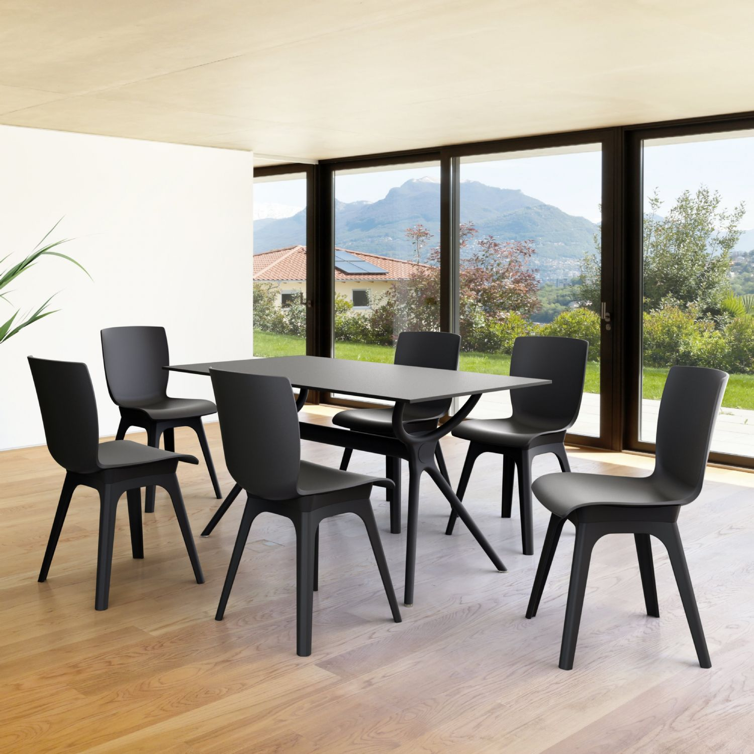 Mio PP Modern Dining Set Black 7 Piece with 55 inch Air Table ISP0941S-BLA - 1