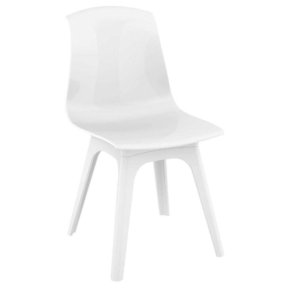 Allegra PP Dining Chair White with Glossy White Seat ISP096-WHI-GWHI