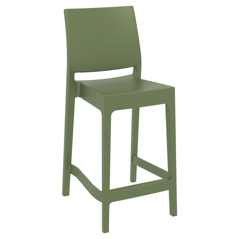 Maya Resin Outdoor Counter Stool Olive Green ISP100-OLG