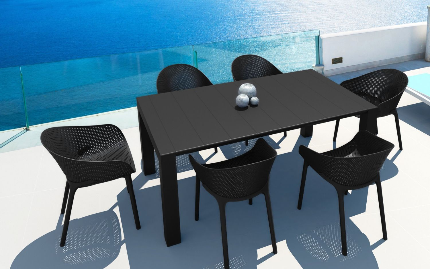 Sky Extendable Dining Set 7 Piece Black ISP1022S-BLA - 1