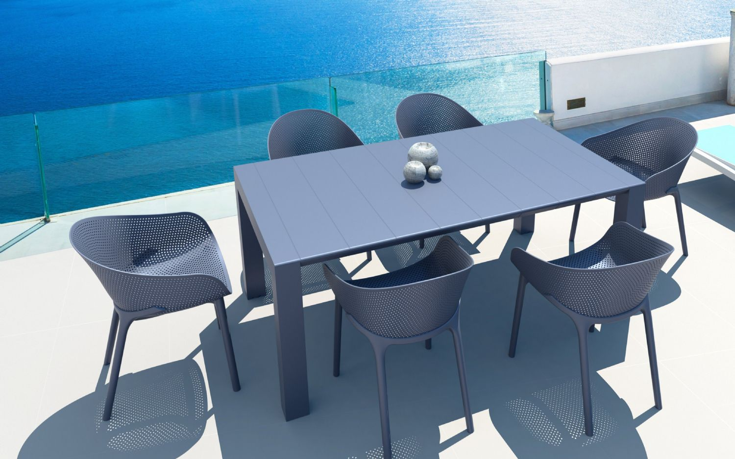 Sky Extendable Dining Set 7 Piece Black ISP1022S-BLA - 2