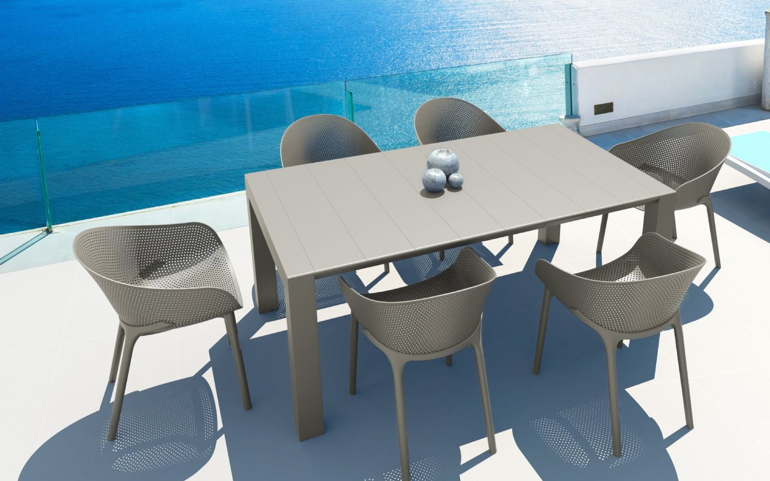 Sky Extendable Dining Set 7 Piece Taupe ISP1022S-DVR - 3