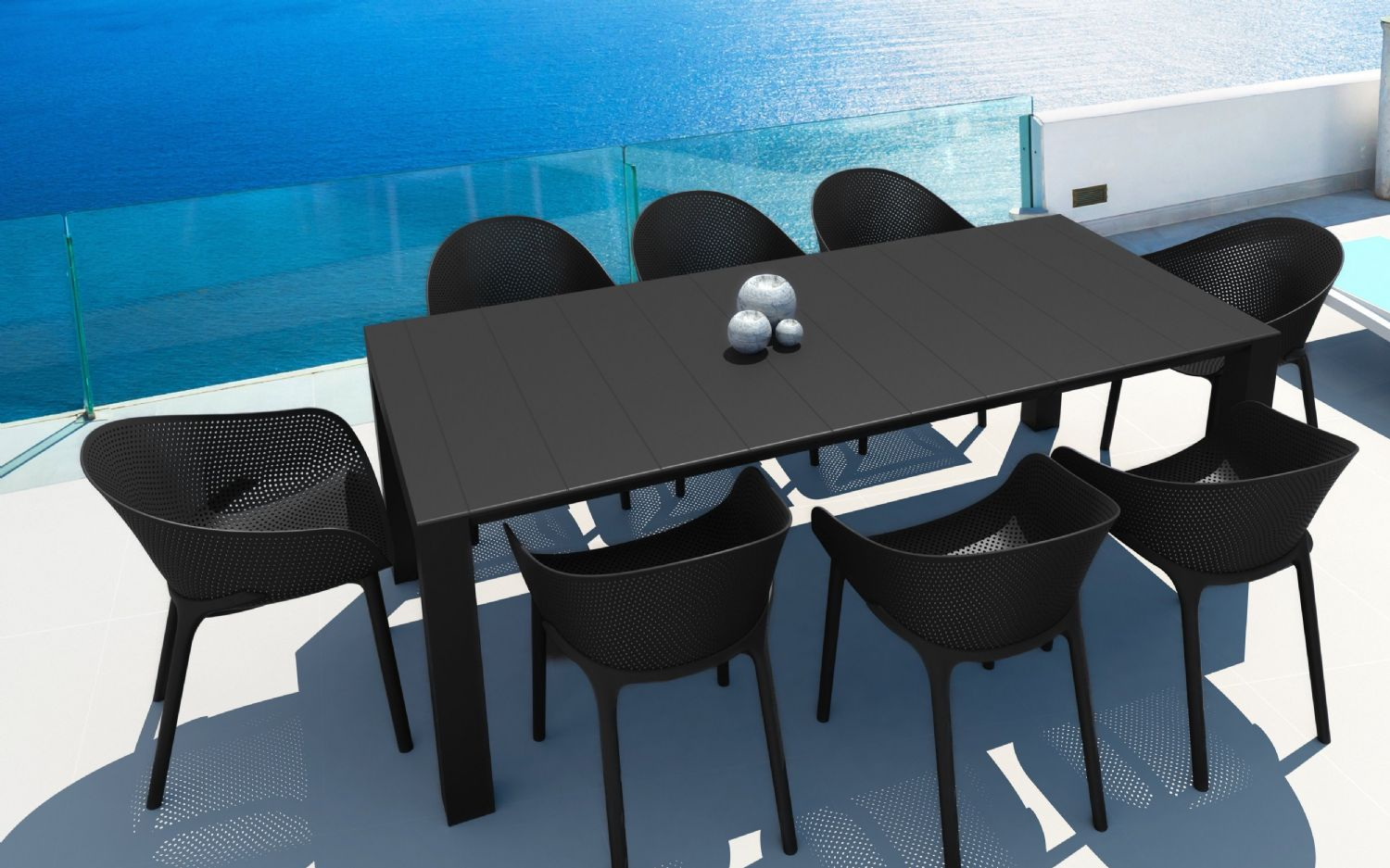 Sky Extendable Dining Set 9 Piece Black ISP1023S-BLA - 1