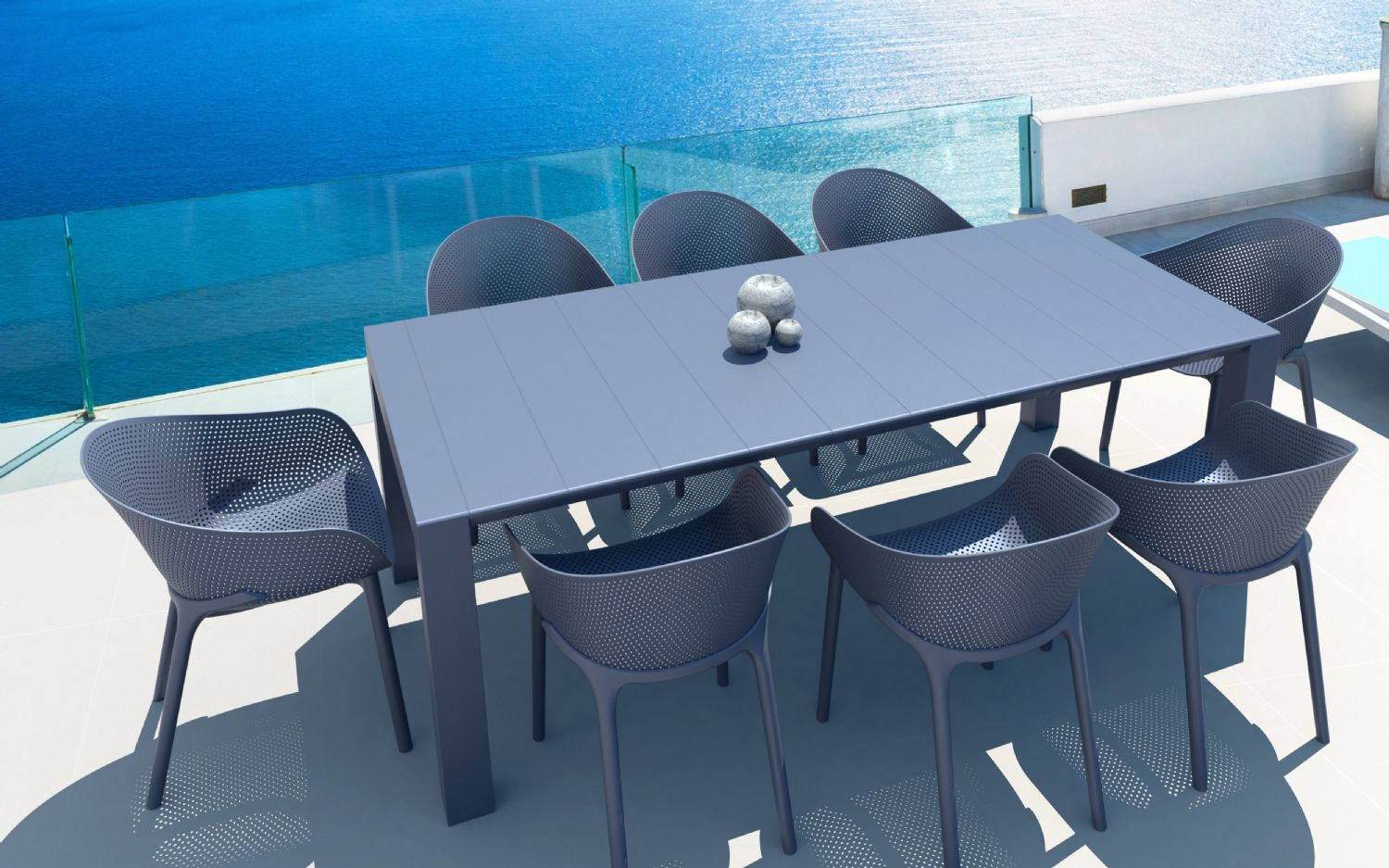 Sky Extendable Dining Set 9 Piece Dove Gray ISP1023S-DVR - 2