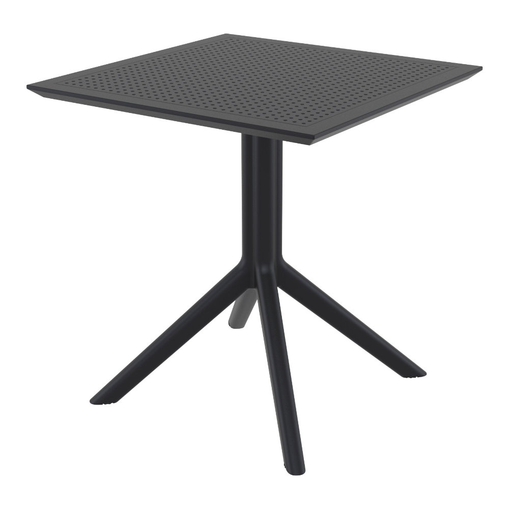 Sky Square Outdoor Dining Table 27 inch Black ISP108-BLA