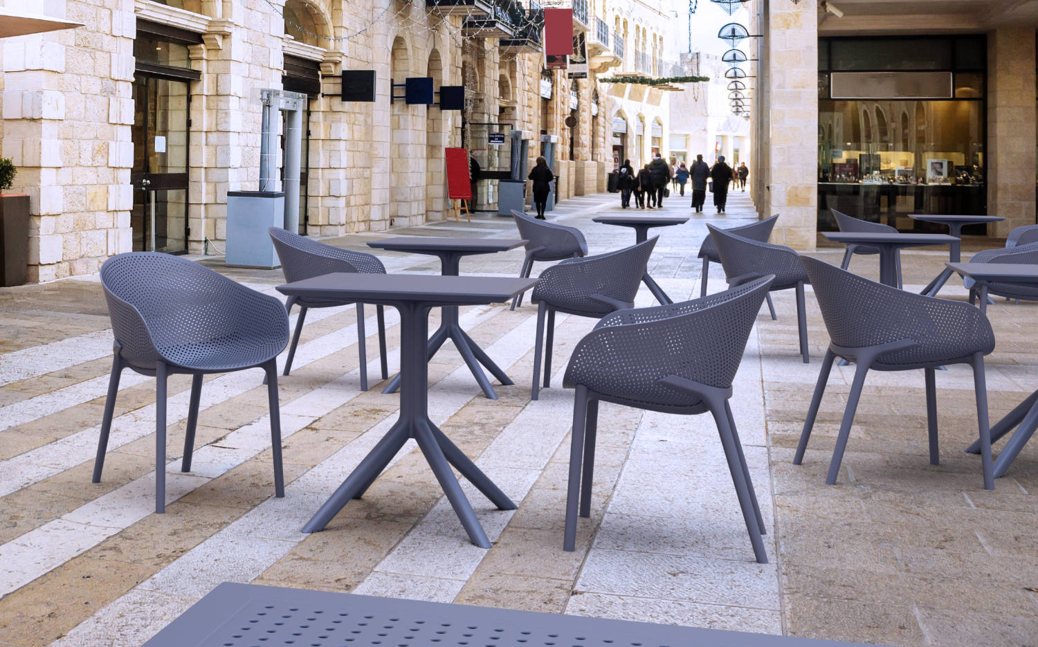 Sky Square Outdoor Dining Table 27 inch Black ISP108-BLA - 4