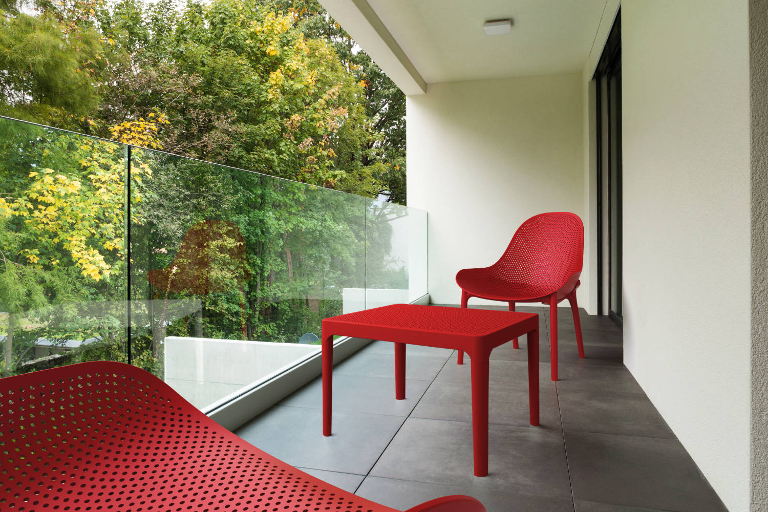 Sky Outdoor Side Table Red ISP109-RED - 6