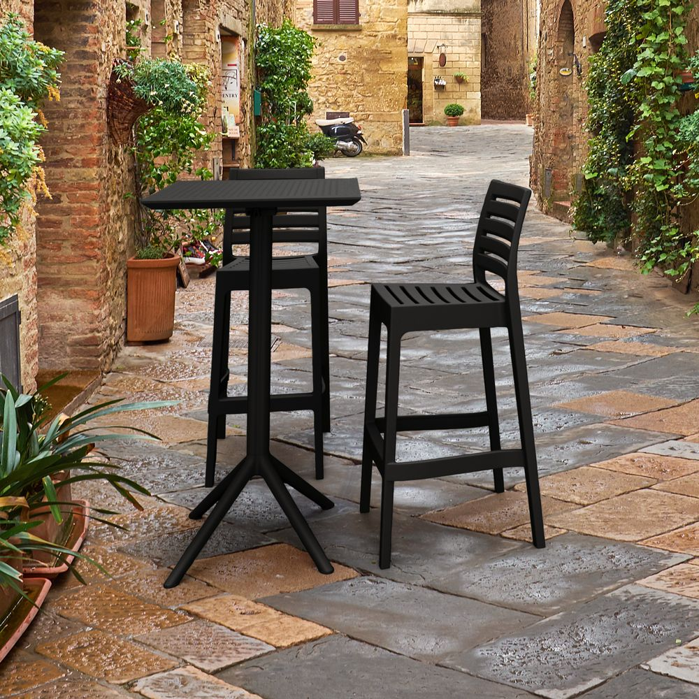 Sky Ares Square Bar Set with 2 Barstools Black ISP1161S-BLA