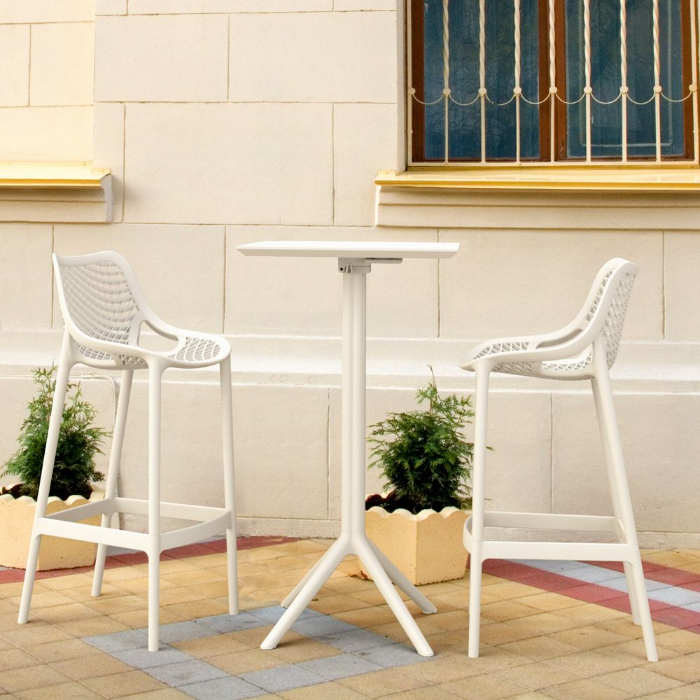 Sky Air Square Bar Set with 2 Barstools White ISP1162S-WHI