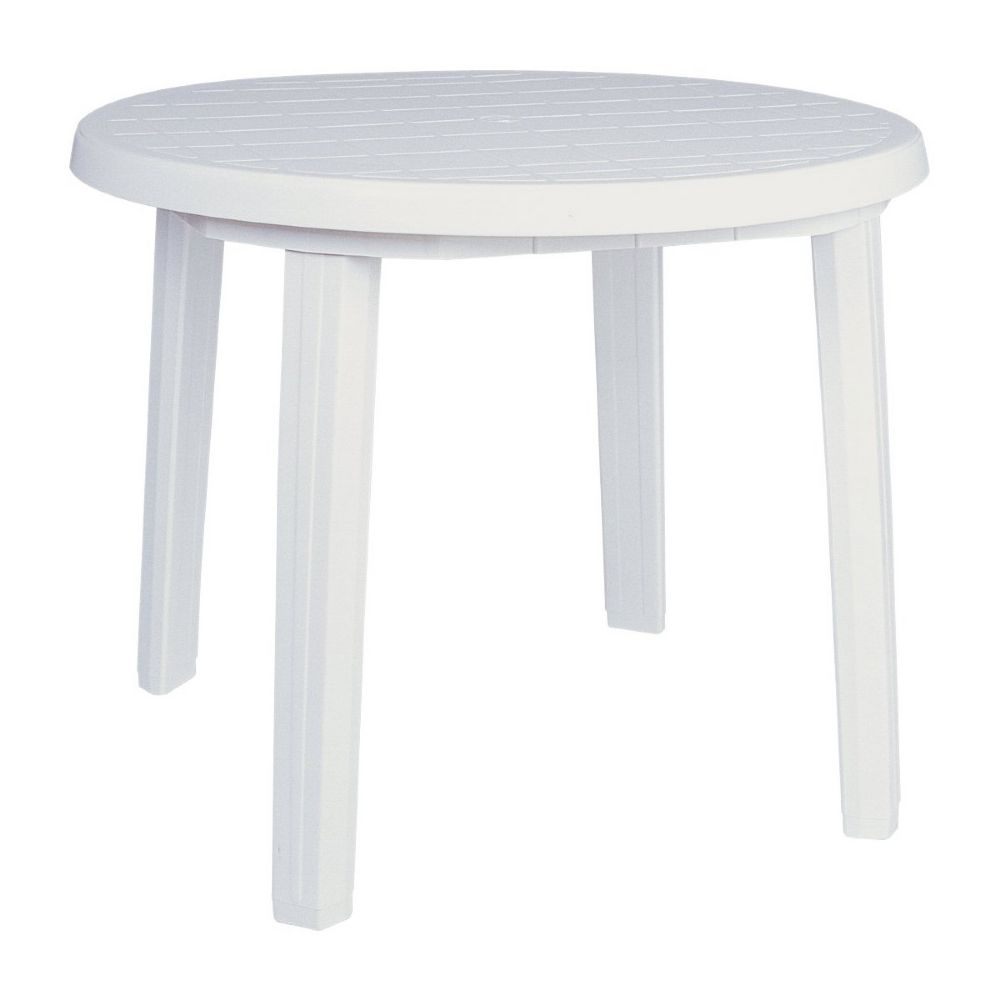 Sunny Resin Round Dining Table 35 inch White ISP125-WHI