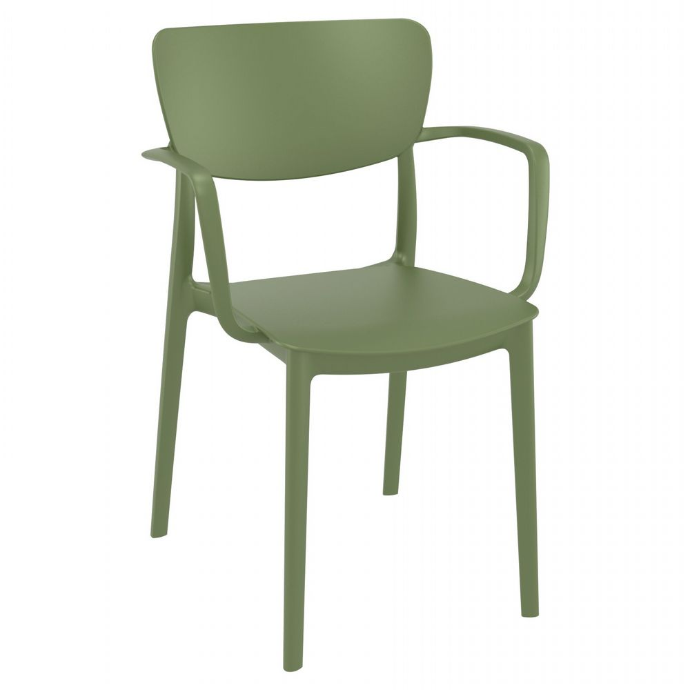 Lisa Outdoor Dining Arm Chair Olive Green ISP126-OLG