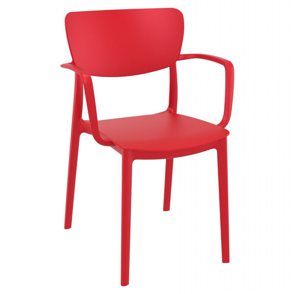 Lisa Outdoor Dining Arm Chair Red ISP126-RED