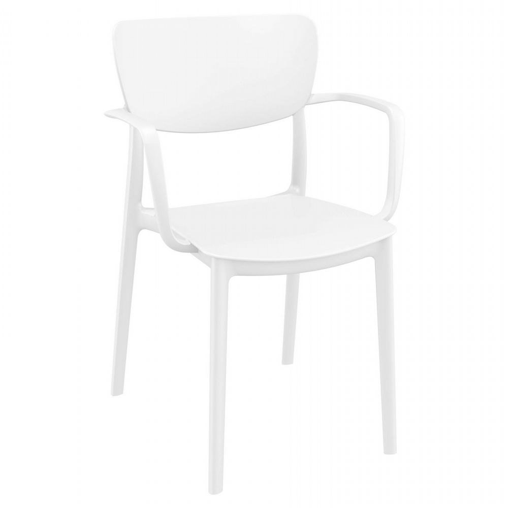 Lisa Outdoor Dining Arm Chair White ISP126-WHI