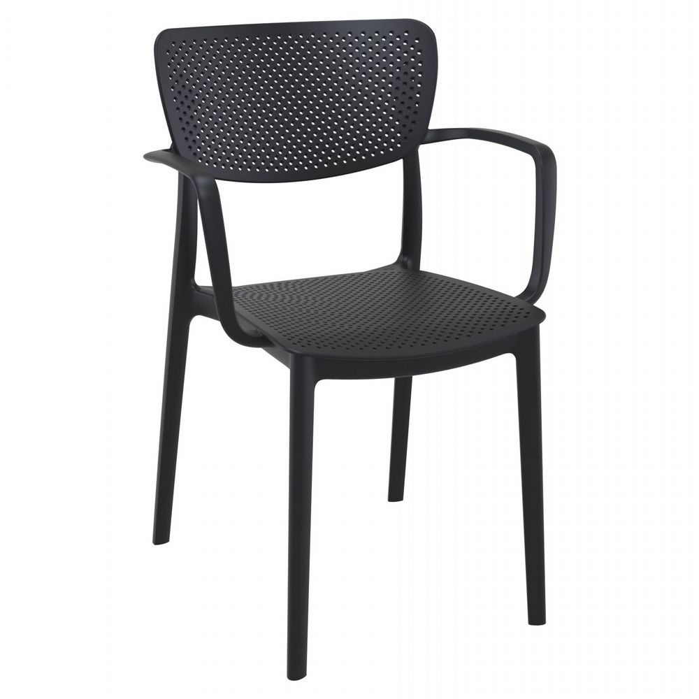 Loft Outdoor Dining Arm Chair Black ISP128-BLA