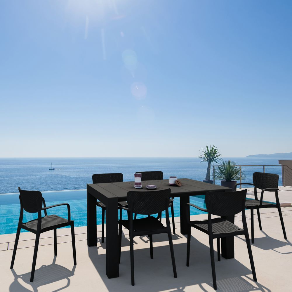 Loft Outdoor Dining Set with 6 Arm Chairs and 55 inch Extension Table Black ISP1281S-BLA