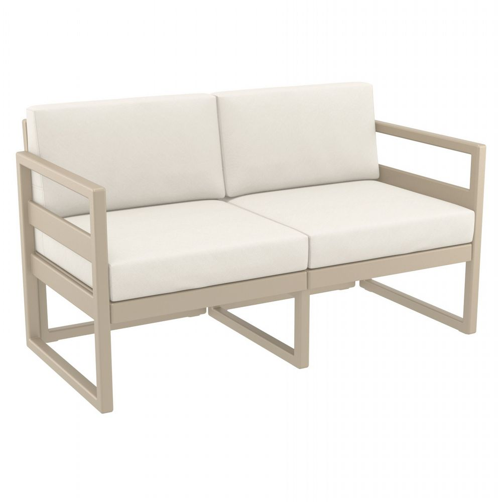 Mykonos Loveseat Taupe with Sunbrella Natural Cushion ISP1312-DVR-CNA