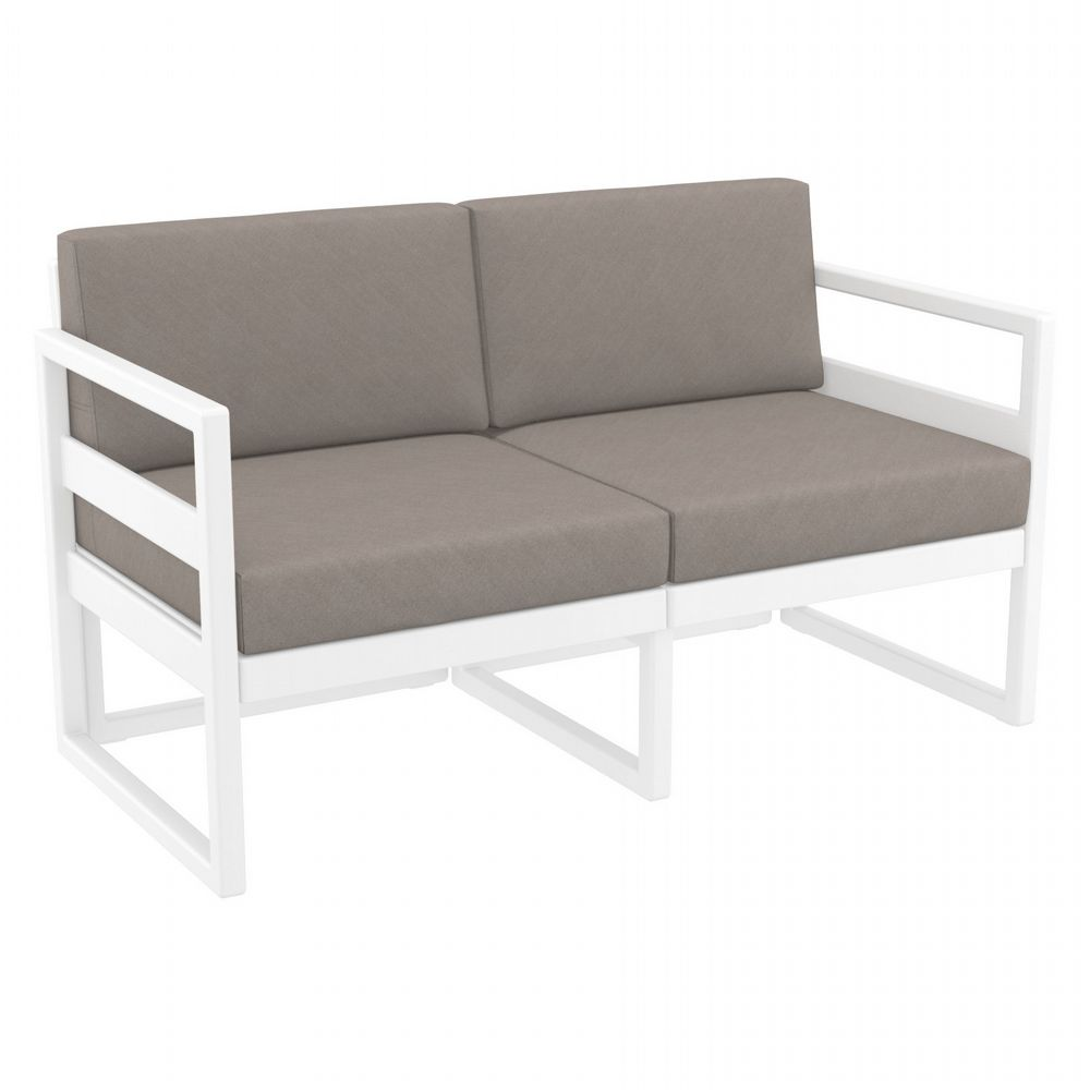 Mykonos Loveseat White with Sunbrella Taupe Cushion ISP1312-WHI-CTA