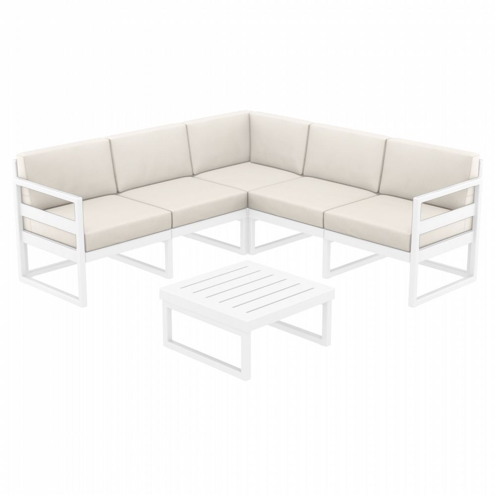 Mykonos Corner Sectional 5 Person Lounge Set White with Sunbrella Natural Cushion ISP134-WHI-CNA