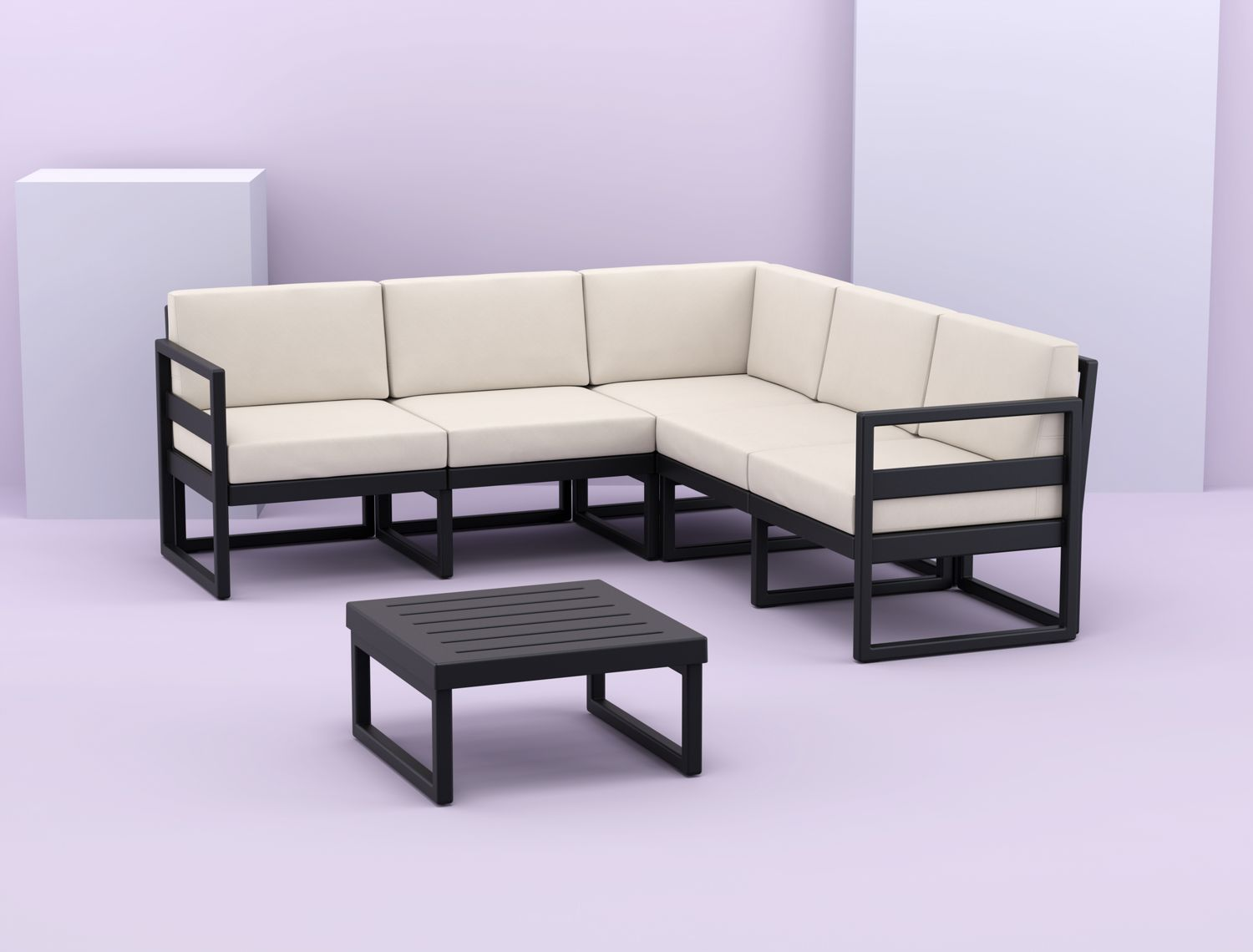Mykonos Corner Sectional 5 Person Lounge Set White with Sunbrella Natural Cushion ISP134-WHI-CNA - 1