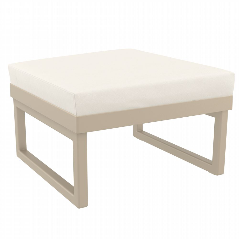 Mykonos Square Ottoman Taupe with Sunbrella Natural Cushion ISP137F-DVR-CNA