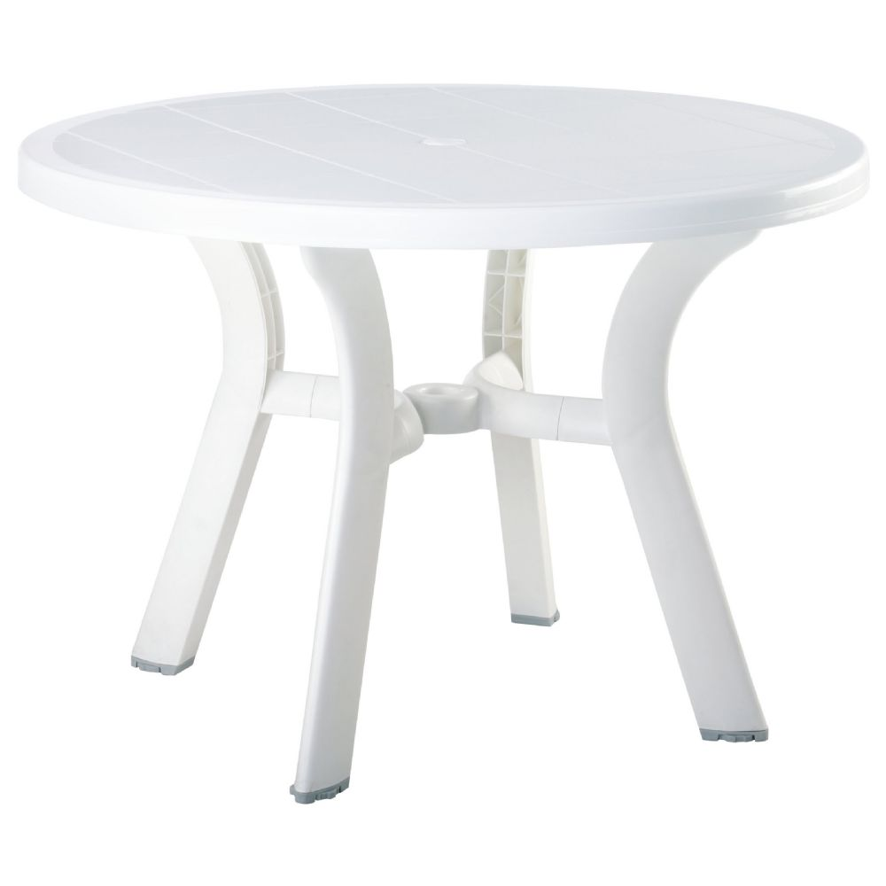 Truva Resin Round Dining Table 42 inch White ISP146-WHI