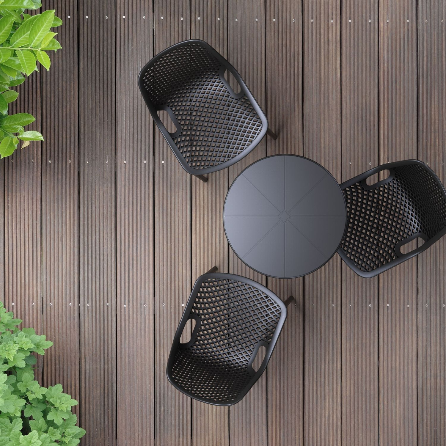 Octopus Outdoor Dining Table 24 inch Round Taupe ISP160-DVR - 2