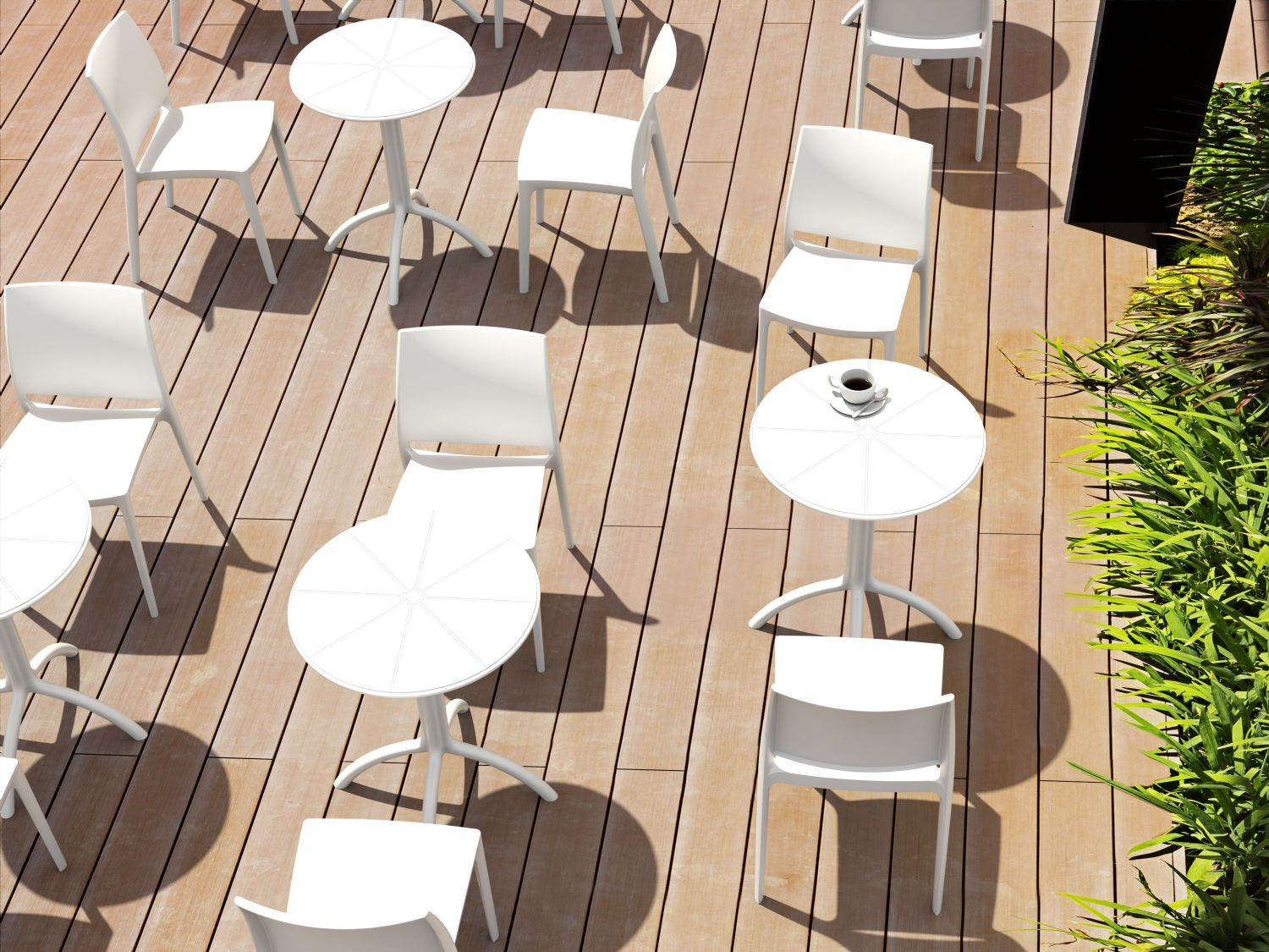 Octopus Outdoor Dining Table 24 inch Round Taupe ISP160-DVR - 12