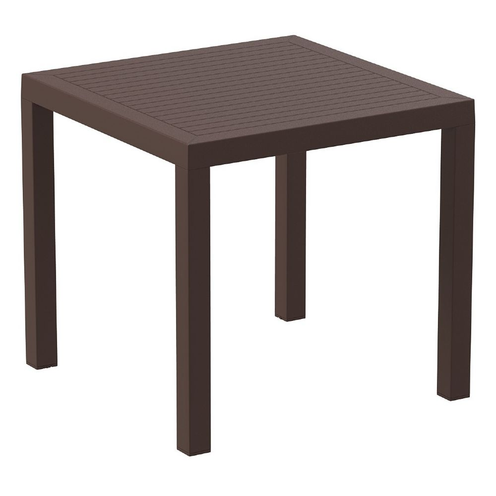 Ares Resin Outdoor Table 31 inch Square Brown ISP164-BRW
