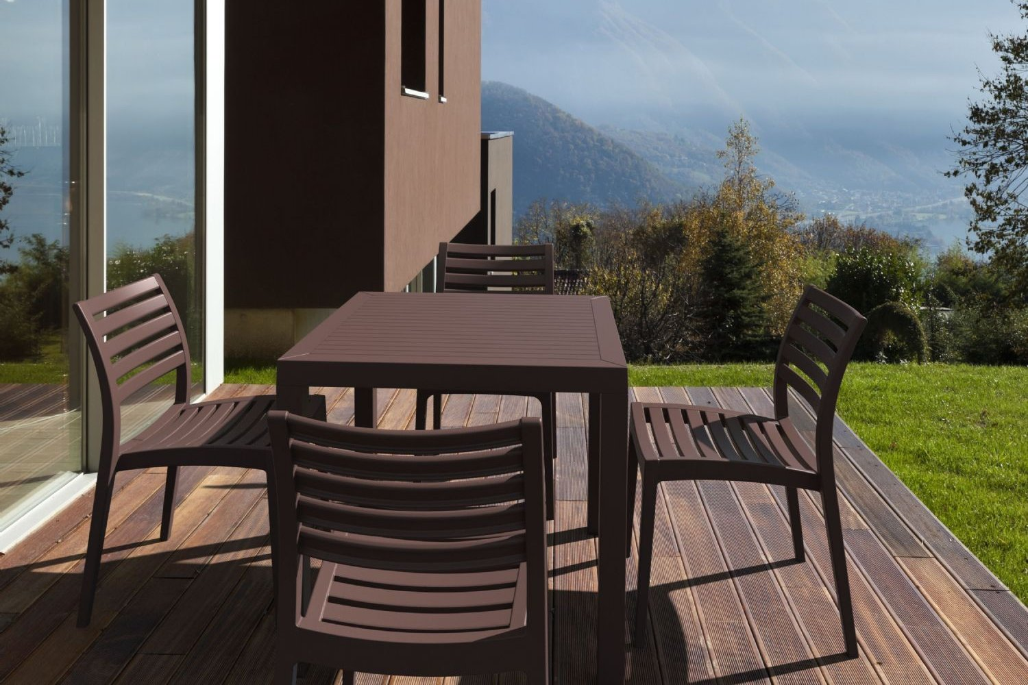 Ares Resin Square Outdoor Dining Set 5 Piece with Side Chairs Brown ISP1641S-BRW - 3