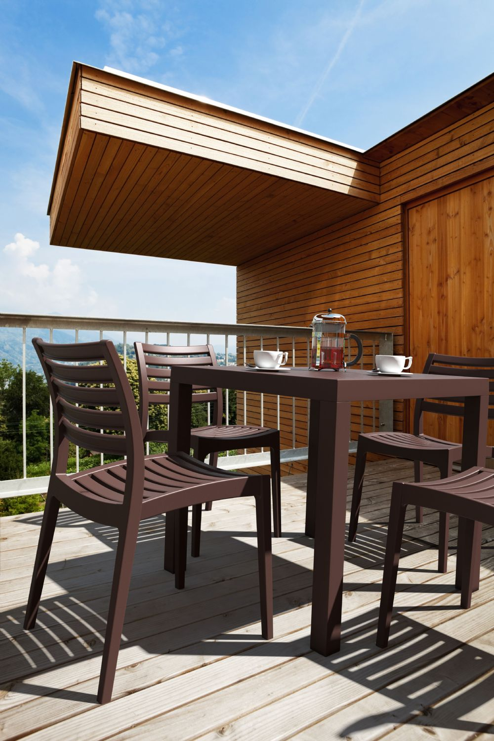 Ares Resin Square Outdoor Dining Set 5 Piece with Side Chairs Brown ISP1641S-BRW - 4