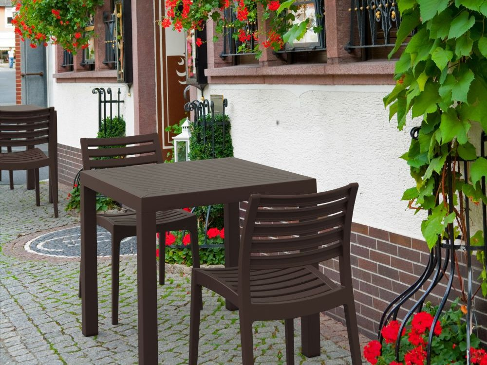 Ares Resin Square Outdoor Dining Set 5 Piece with Side Chairs ISP1641S - 6