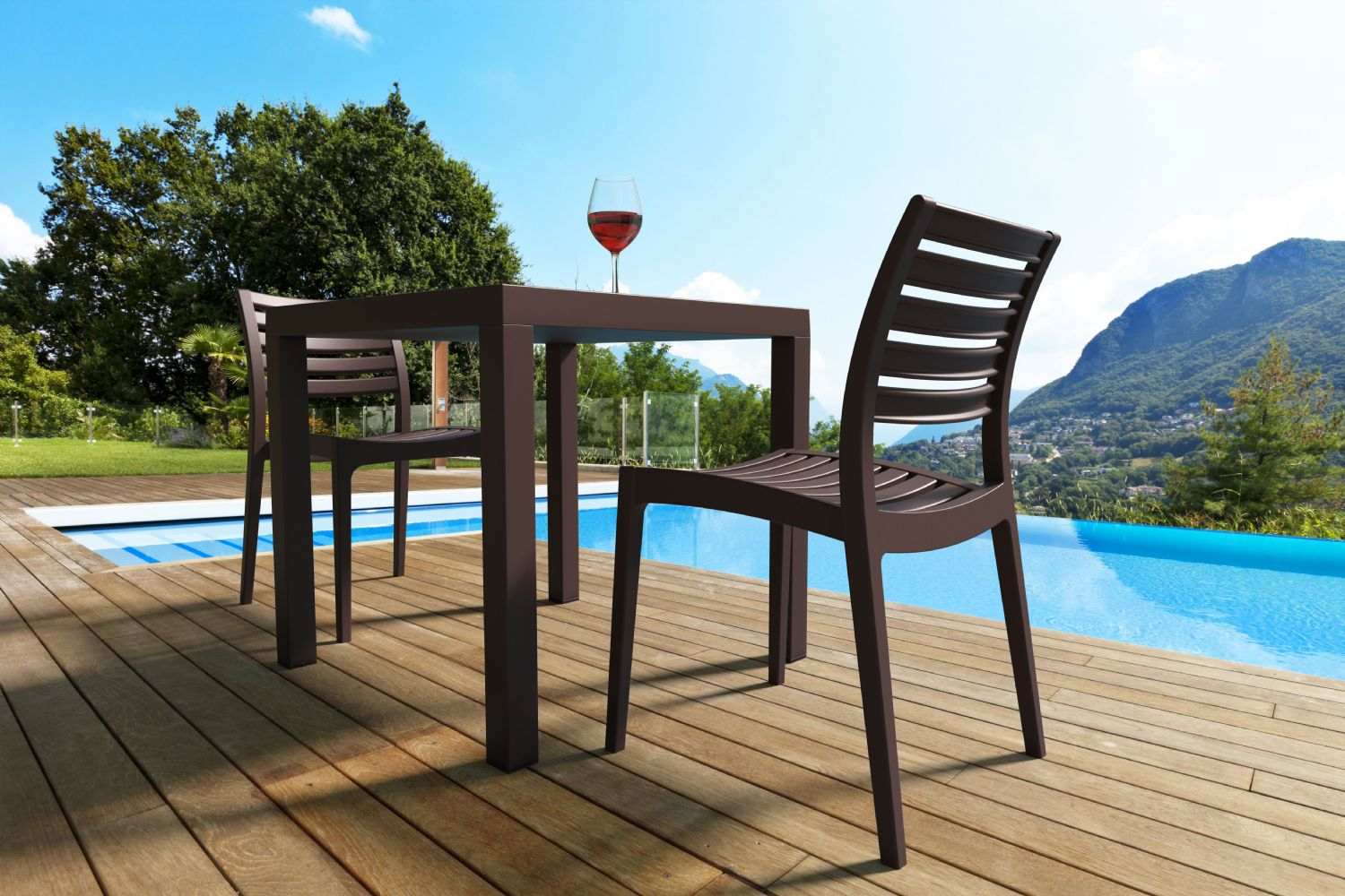 Ares Resin Square Outdoor Dining Set 5 Piece with Side Chairs ISP1641S - 7